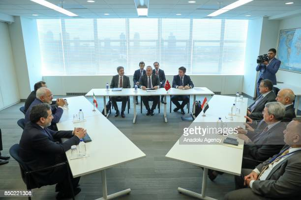 Turkish Foreign Minister Mevlut Cavusoglu meets with Iraqi Foreign Minister Ibrahim alJaafari and Iranian Foreign Minister Javad Zarif within the...