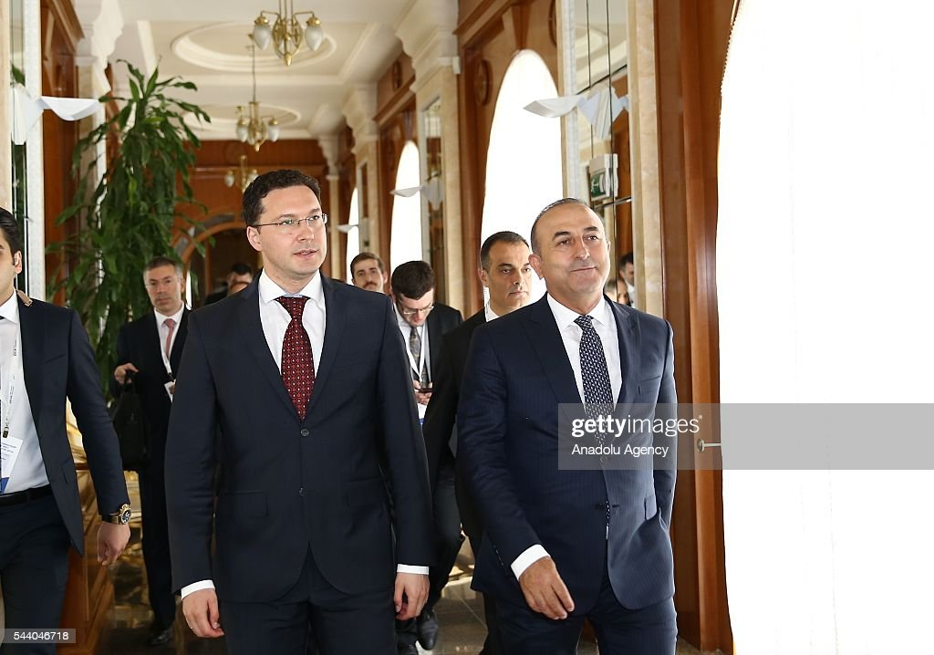 Turkish Foreign Minister Mevlut Cavusoglu (R) meets with Minister of Foreign Affairs of Bulgaria, Daniel Mitov (L) in Sochi, Russia on July 01, 2016.