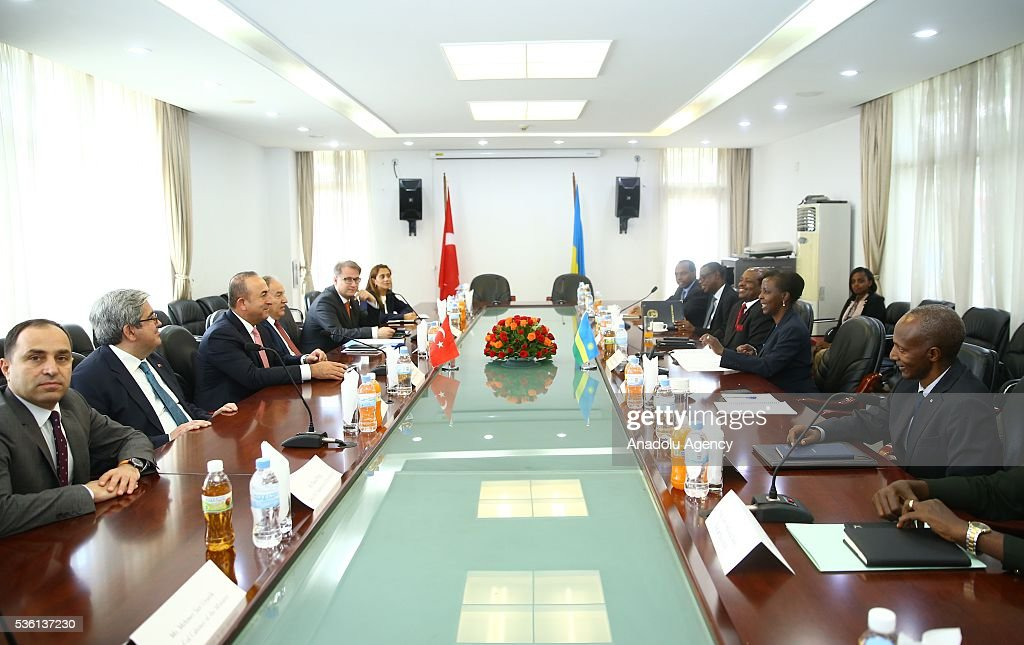 Turkish Foreign Minister Mevlut Cavusoglu (3rd L) meets with Minister of Foreign Affairs and Cooperation of Rwanda Louise Mushikiwabo (2nd R) in Kigali, Rwanda on May 31, 2016.