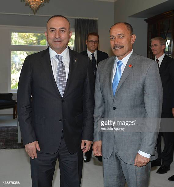 Turkish Foreign Minister Mevlut Cavusoglu meets with New Zealand Governor general Sir Jerry Mateparae at Auckland government official residence in...