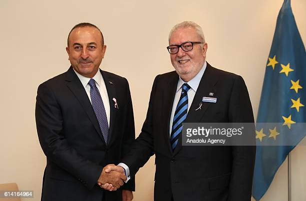 Turkish Foreign Minister Mevlut Cavusoglu meets with Parliamentary Assembly of Council of Europe President Pedro Agramunt prior to their joint press...