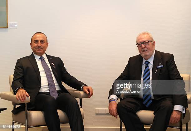 Turkish Foreign Minister Mevlut Cavusoglu meets with Parliamentary Assembly of Council of Europe President Pedro Agramunt in Strasbourg France on...
