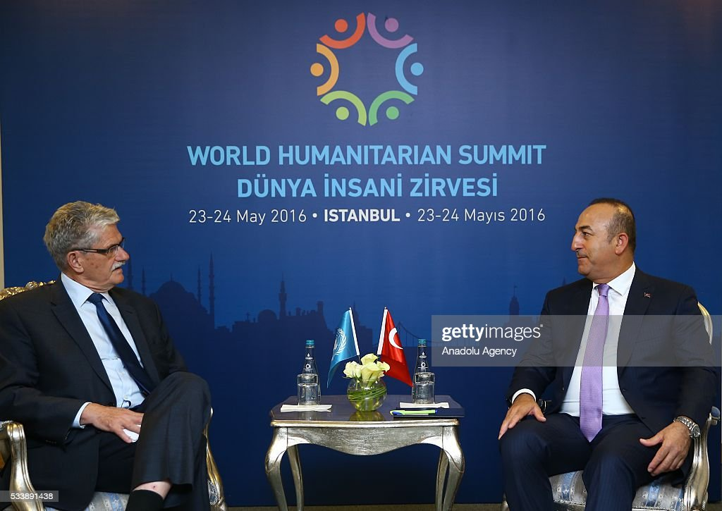 Turkish Foreign Minister Mevlut Cavusoglu (R) meets with President of the United Nations General Assembly Mogens Lykketoft (L) during the World Humanitarian Summit in Istanbul, Turkey on May 24, 2016.