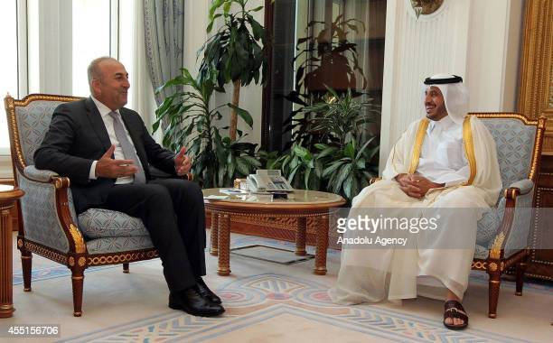 Turkish Foreign Minister Mevlut Cavusoglu meets with Qatari Prime Minister Abdullah Bin Nasser Bin Khalifa Al Thani in Doha capital of Qatar on...