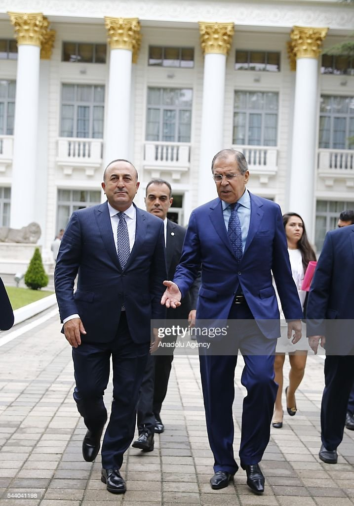 Turkish Foreign Minister Mevlut Cavusoglu (L) meets with Russia's Foreign Minister Sergey Lavrov (R) in Sochi, Russia on July 1, 2016.