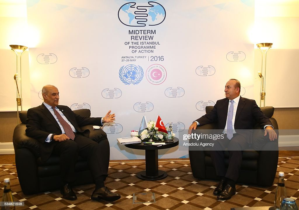 Turkish Foreign Minister Mevlut Cavusoglu (R) meets with United Nations Secretary-General's Special Adviser on Africa Maged A. Abdelaziz (L) during the Midterm Review of the Istanbul Programme of Action at Titanic Hotel in Antalya, Turkey on May 28, 2016. The Midterm Review conference for the Istanbul Programme of Action for the Least Developed Countries takes place in Antalya, Turkey from 27-29 May 2016.