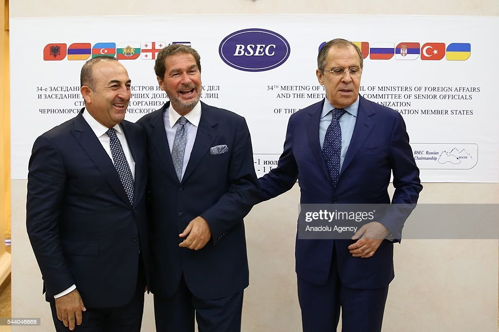Turkish Foreign Minister Mevlut Cavusoglu (L), Russia's Foreign Minister Sergey Lavrov (R) pose for a photo during the Council of Ministers for Foreign Affairs of the Black Sea Economic Cooperation Organization (BSEC) member-states meeting in Sochi, Russia on July 1, 2016.