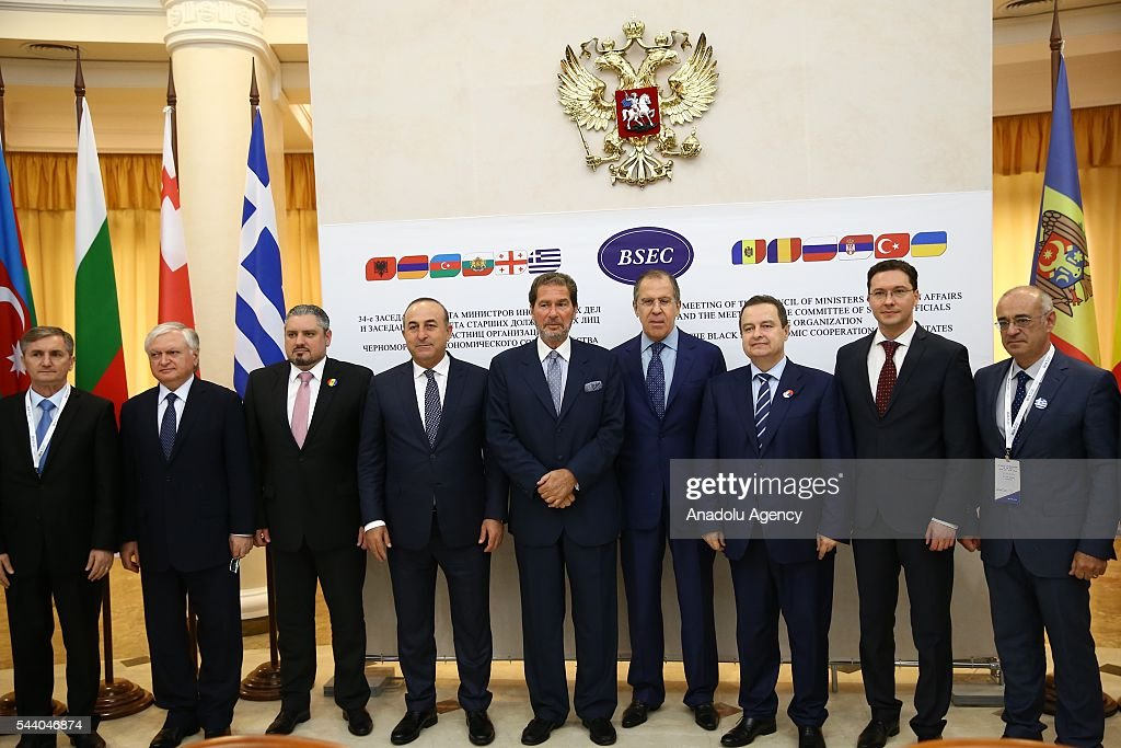 Turkish Foreign Minister Mevlut Cavusoglu (4th L), Russia's Foreign Minister Sergey Lavrov (4th R) pose for a photo during the Council of Ministers for Foreign Affairs of the Black Sea Economic Cooperation Organization (BSEC) member-states meeting in Sochi, Russia on July 1, 2016.