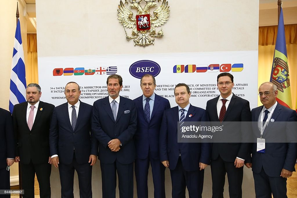 Turkish Foreign Minister Mevlut Cavusoglu (2nd L), Russia's Foreign Minister Sergey Lavrov (4th R) pose for a photo during the Council of Ministers for Foreign Affairs of the Black Sea Economic Cooperation Organization (BSEC) member-states meeting in Sochi, Russia on July 1, 2016.