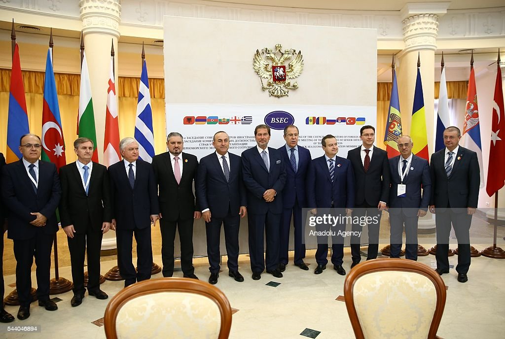 Turkish Foreign Minister Mevlut Cavusoglu (5th L), Russia's Foreign Minister Sergey Lavrov (5th R) pose for a photo during the Council of Ministers for Foreign Affairs of the Black Sea Economic Cooperation Organization (BSEC) member-states meeting in Sochi, Russia on July 1, 2016.