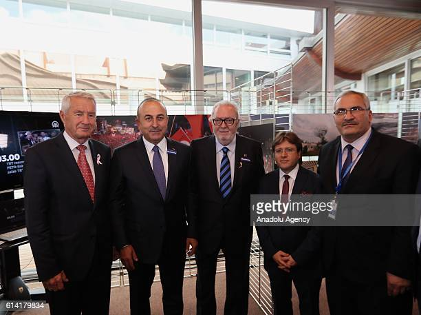 Turkish Foreign Minister Mevlut Cavusoglu Secretary General of the Council of Europe Thorbjorn Jagland and Parliamentary Assembly of Council of...