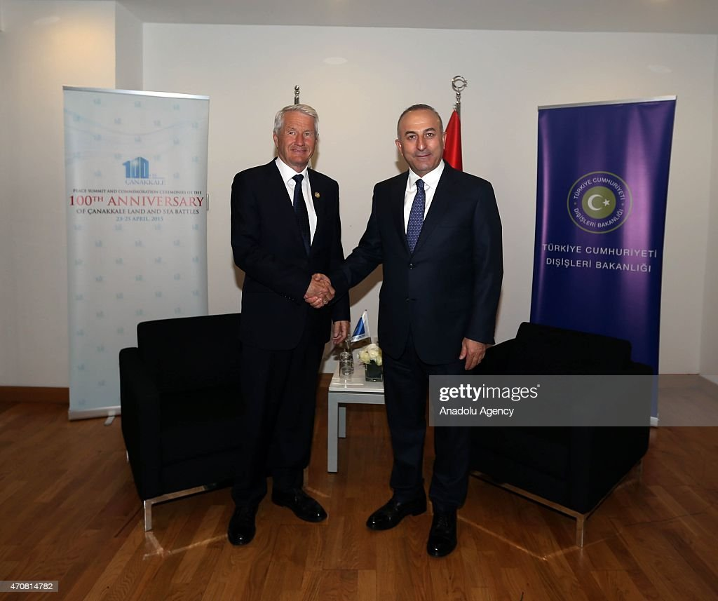Turkish Foreign Minister Mevlut Cavusoglu (R) shake hands with Secretary General of the Council of Europe <a gi-track='captionPersonalityLinkClicked' href=/galleries/search?phrase=Thorbjorn+Jagland&family=editorial&specificpeople=862853 ng-click='$event.stopPropagation()'>Thorbjorn Jagland</a> (L) after their meeting at Istanbul Congress Center on April 23, 2015 in Istanbul, Turkey.