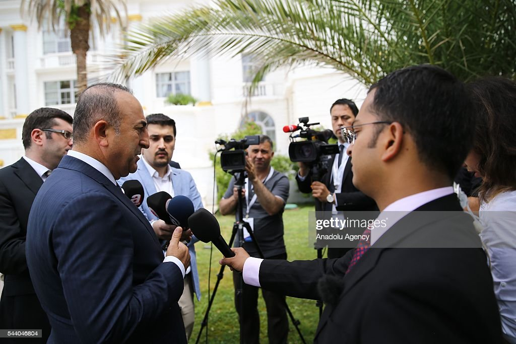 Turkish Foreign Minister Mevlut Cavusoglu (L) talks to media after Minister of Foreign Affairs of Bulgaria, Daniel Mitov (R) meeting in Sochi, Russia on July 01, 2016.