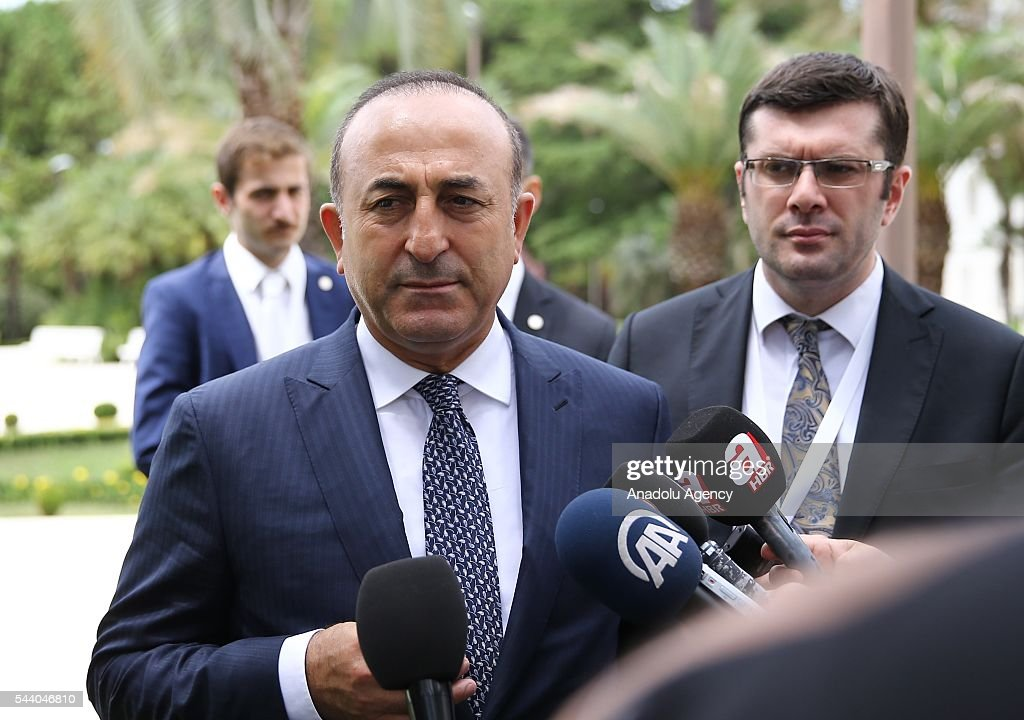 Turkish Foreign Minister Mevlut Cavusoglu talks to media after Minister of Foreign Affairs of Bulgaria, Daniel Mitov (R) meeting in Sochi, Russia on July 01, 2016.