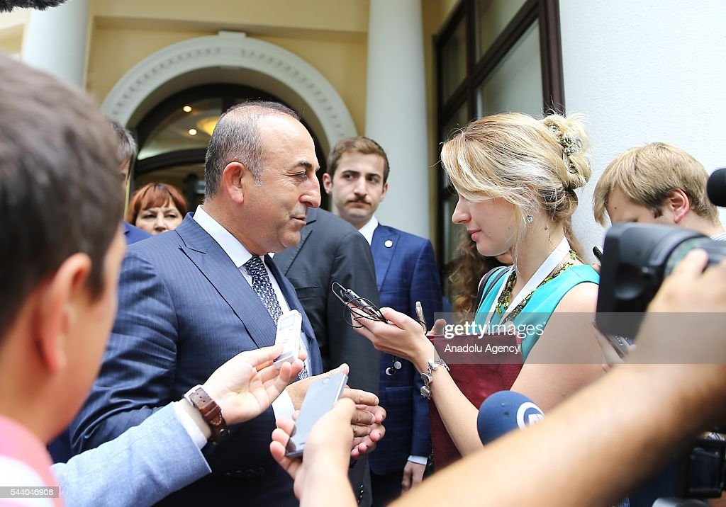Turkish Foreign Minister Mevlut Cavusoglu talks to media after Session of BSEC Council of Foreign Ministers meeting in Sochi, Russia on July 01, 2016.