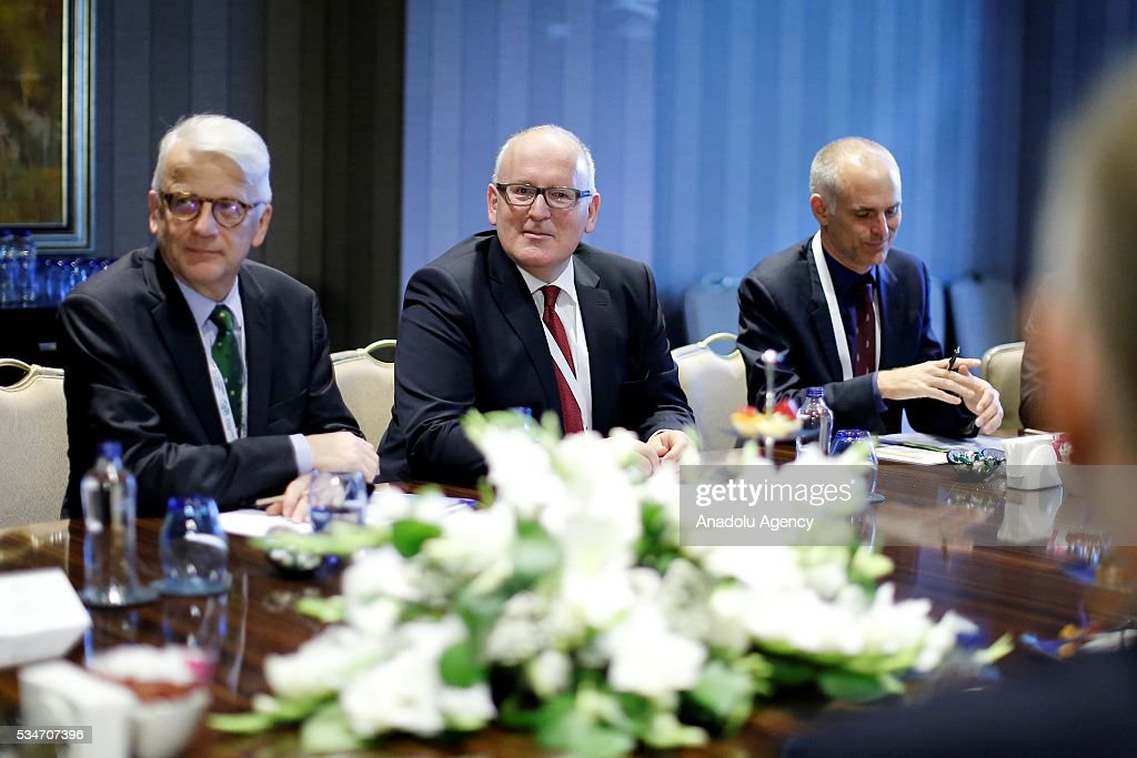 Turkish Foreign Minister Mevlut Cavusoglu (not seen), Turkish Minister of EU Affairs Omer Celik (not seen) and First Vice President of the European Commission Frans Timmermans (C) attend a trilateral meeting held within the Midterm Review of the Istanbul Programme of Action in Antalya, Turkey on May 27, 2016. The Midterm Review conference for the Istanbul Programme of Action for the Least Developed Countries takes place in Antalya, Turkey from 27 to 29 of May 2016. The conference undertakes a comprehensive review of the implementation of the Istanbul Programme of Action by the least developed countries (LDCs) and their development partners and likewise reaffirm the global commitment to address the special needs of the LDCs.