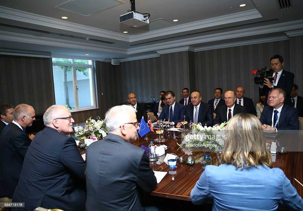 Turkish Foreign Minister Mevlut Cavusoglu, Turkish Minister of EU Affairs Omer Celik and First Vice President of the European Commission Frans Timmermans (left 2) attend a trilateral meeting within the Midterm Review of the Istanbul Programme of Action in Antalya, Turkey on May 27, 2016. The Midterm Review conference for the Istanbul Programme of Action for the Least Developed Countries takes place in Antalya, Turkey from 27 to 29 of May 2016. The conference undertakes a comprehensive review of the implementation of the Istanbul Programme of Action by the least developed countries (LDCs) and their development partners and likewise reaffirm the global commitment to address the special needs of the LDCs.