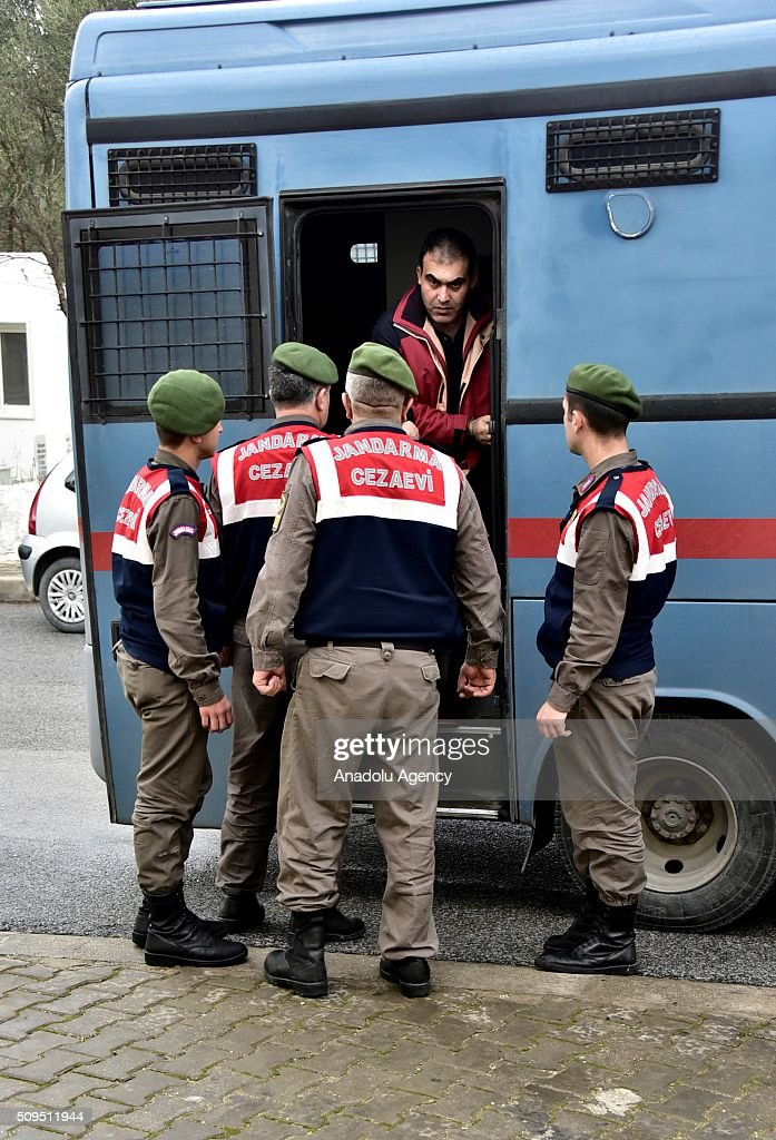 Turkish gendarmeries escort 2 Syrians, arrested on suspicion of causing deaths of 5 refugees including Aylan Kurdi,as they brought to the court in Mugla, Turkey on February 11, 2016. Aylan Kurdi,3 year old kid drowned after boat sank on route to the Greek islands in the Aegean Sea.