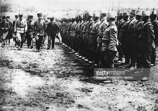 Turkish general and statesman Mustafa Kemal Ataturk reviewing his troops during the war of independence against Greece