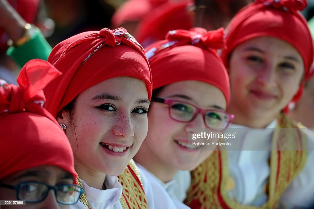 Turkish girls support the cyclists during Stage 6 of the 2016 Tour of Turkey, Kumluca to Elmali (117 km) on April 24, 2016 in Kumluca, Turkey.