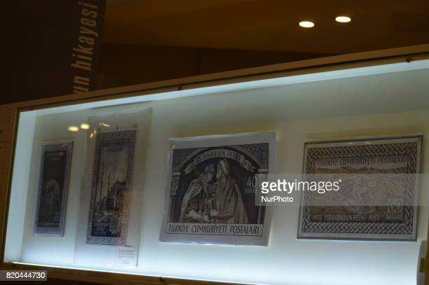 Turkish historic posts are seen at the PTT Stamp Museum in Ankara Turkey on July 21 2017
