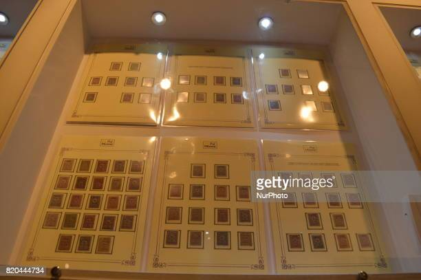 Turkish historic stamps are seen at the PTT Stamp Museum in Ankara Turkey on July 21 2017