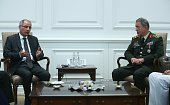 Turkish Interior Minister Efkan Ala and Chief of the General Staff of the Turkish Armed Forces Hulusi Akar meet at the ministry headquarters after...