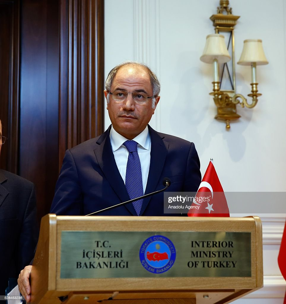 Turkish Interior Minister Efkan Ala attends a press conference with Bulgarian Interior Minister Rumyana Bachvarova (not seen) after signing an agreement on implementation of the EU-Turkey agreement on accepting back illegally staying individuals in Ankara, Turkey on May 5, 2016.