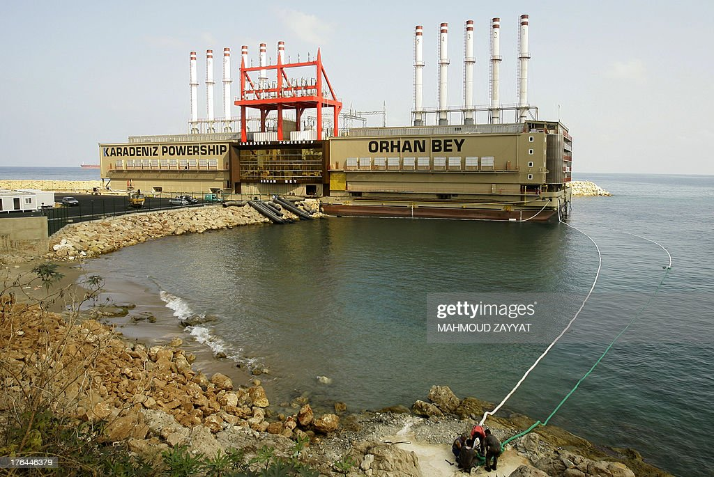 Turkish local power generating ship Orhan Bey is seen docked in Jiyeh, south of Beirut, on August 13, 2013. Lebanese security services are protecting Turkish interests in the country after the kidnap of two Turkish Airlines pilots on August 9, by a group demanding Turkey use its influence with Syria's rebels, who it backs, to secure the release of nine Lebanese Shiites kidnapped in Syria in May 2012.