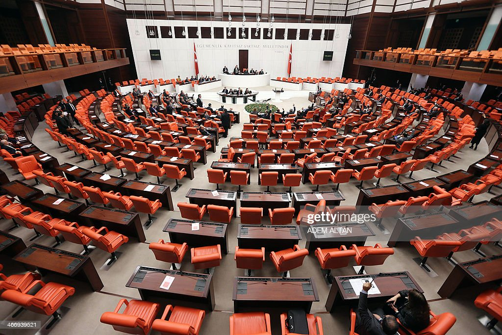Turkish Members of Parliament debate new Internet legislation in Ankara on February 5, 2014. Turkish MPs debated new Internet legislation portrayed by the government as shielding the young from dangerous material but which critics say is a further erosion of personal freedom in the aspiring EU member. The proposals follow reforms that detractors say hurt the independence of the judiciary and come as Prime Minister Recep Tayyip Erdogan tries to contain a deeply damaging corruption probe implicating his inner circle.