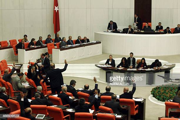Turkish Members of Parliament debate new Internet legislation in Ankara on February 5 2014 Turkish MPs debated new Internet legislation portrayed by...