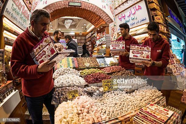 Turkish men preparing turkish delight