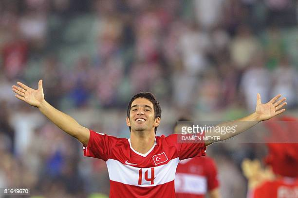 Turkish midfielder Arda Turan celebrates after winning the Euro 2008 Championships quarterfinal football match Croatia vs Turkey on June 20 2008 at...