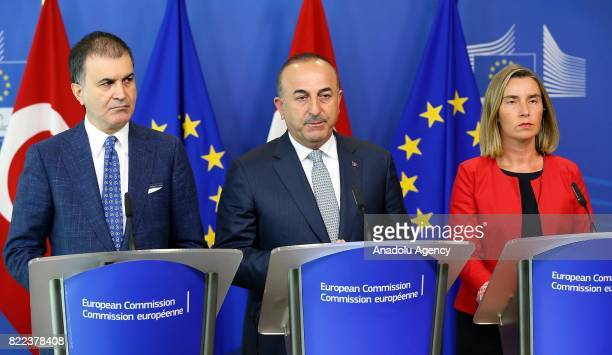 Turkish Minister for EU Affairs Omer Celik Turkish Foreign Minister Mevlut Cavusoglu the High Representative of the European Union for Foreign...