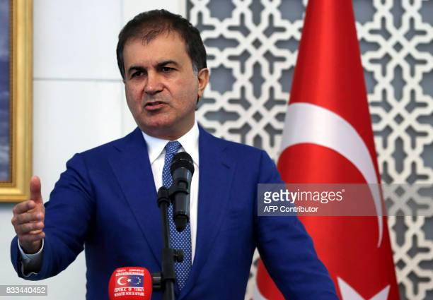 Turkish Minister for European Union Affairs Omer Celik speaks during a joint press conference with British minister of state for Europe and Americas...