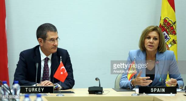 Turkish Minister of Defense Nurettin Canikli and Spanish Minister of Defense Maria Dolores de Cospedal are seen after they signed the declaration of...