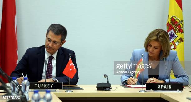 Turkish Minister of Defense Nurettin Canikli and Spanish Minister of Defense Maria Dolores de Cospedal sign the declaration of will to improve...