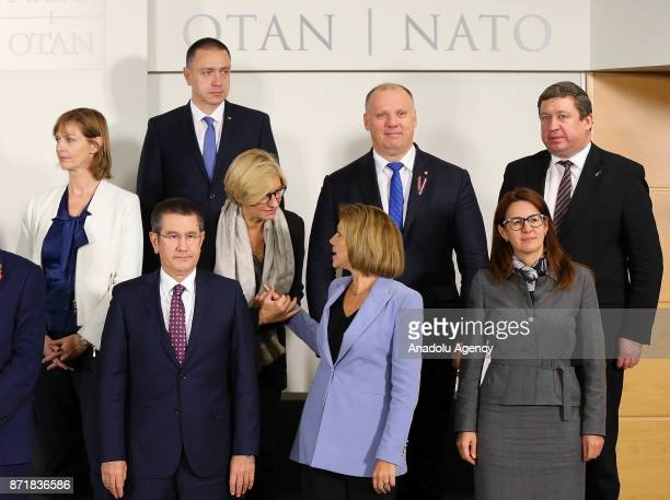 Turkish Minister of Defense Nurettin Canikli Italian Defense Minister Roberta Pinotti and Spanish Minister of Defense Maria Dolores de Cospedal pose...