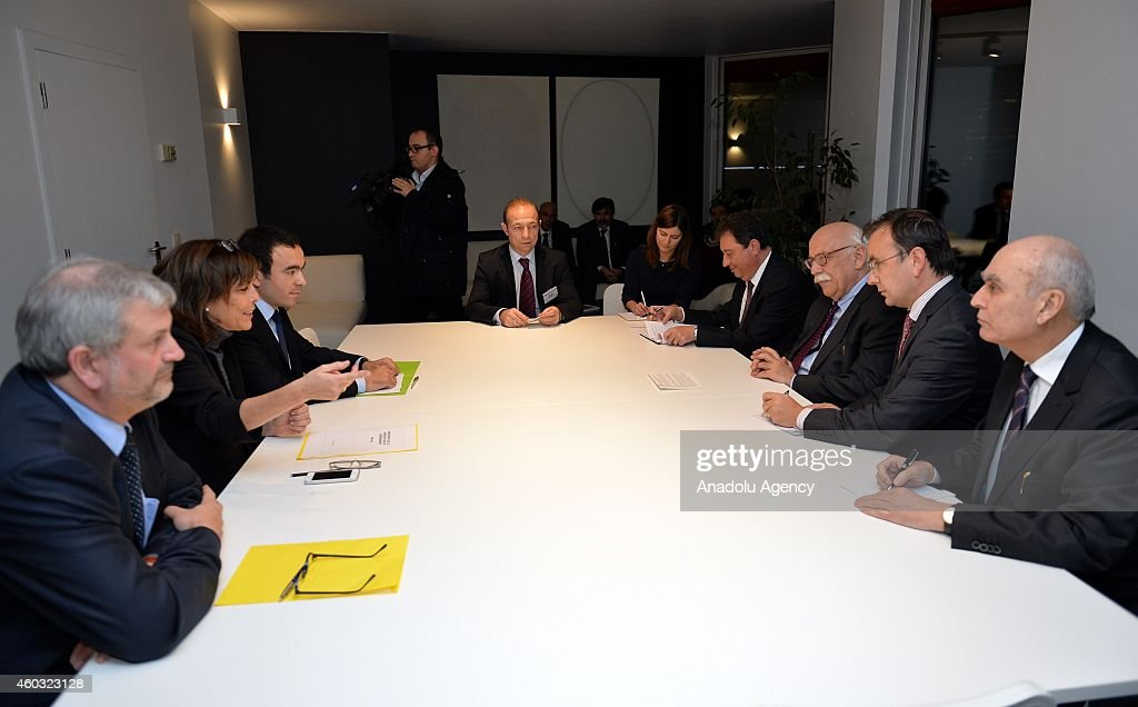 Turkish Minister of Education Nabi Avci (3rd R) meets with Belgian Minister of Education, Culture and Children for French community Joelle Milquet (2nd L) in Brussels, Belgium on December 11, 2014.