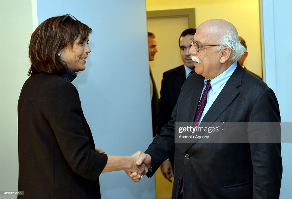 Turkish Minister of Education Nabi Avci (R) meets with Belgian Minister of Education, Culture and Children for French community Joelle Milquet (L) in Brussels, Belgium on December 11, 2014.