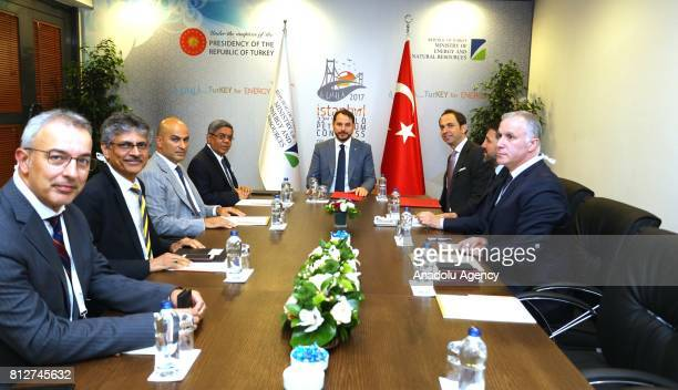 Turkish Minister of Energy and Natural Resources Berat Albayrak meets with Tulsi Tanti the founder of Suzlon Energy within the 22nd World Petroleum...