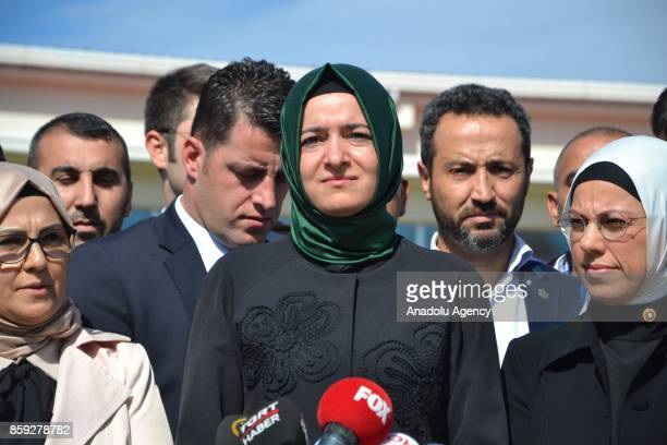 Turkish Minister of Family and Social Policies Fatma Betul Sayan Kaya speaks to media as she arrives at Silivri Penitentiaries Campus for the trial...