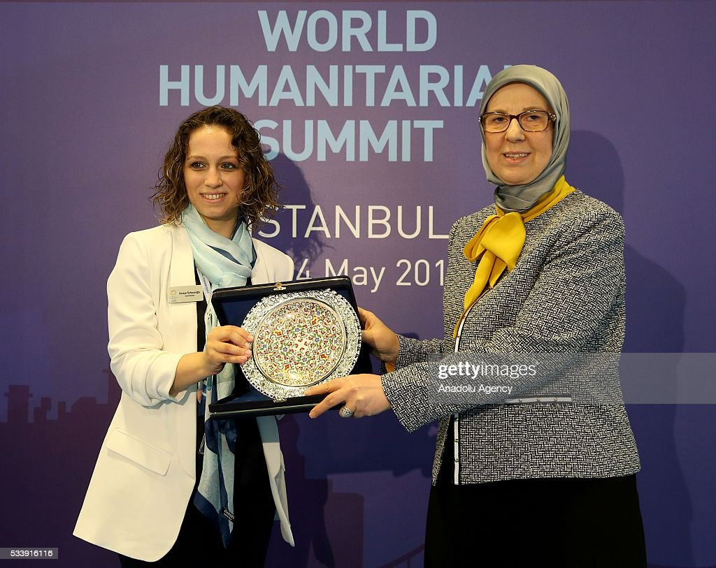 Turkish Minister of Family and Social Policy Sema Ramazanoglu (R) receives a plaque during a special event within World Humanitarian Summit at Lutfi Kirdar Congress Center in Istanbul, Turkey on May 24, 2016.