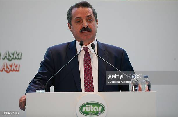 Turkish Minister of Food Agriculture and Livestock Faruk Celik delivers a speech during the opening ceremony of SUTAS Ege dairying project in Tire...