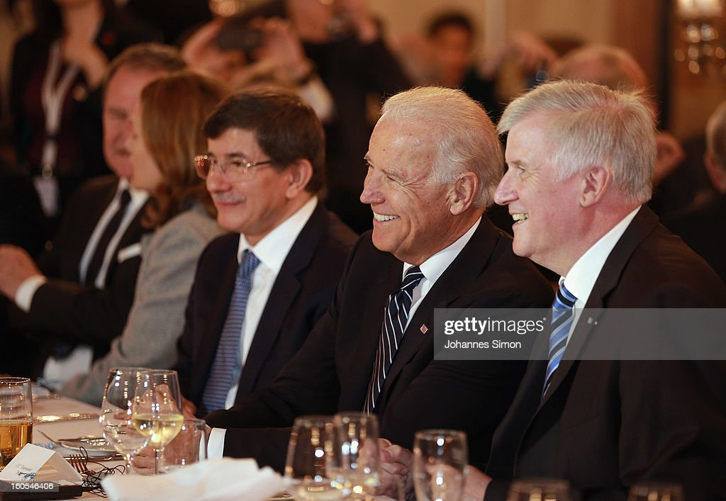 Turkish minister of foreign affairs Ahmet Davutoglu, U.S. Vice President Joseph Biden and Bavarian state governor Horst Seehofer attend a gala dinner for the participants of the Munich conference on security policy on February 2, 2013 in Munich, Germany. The Munich Security Conference brings together senior figures from around the world to engage in an intensive debate on current and future security challenges and remains the most important independent forum for the exchange of views by international security policy decision-makers.