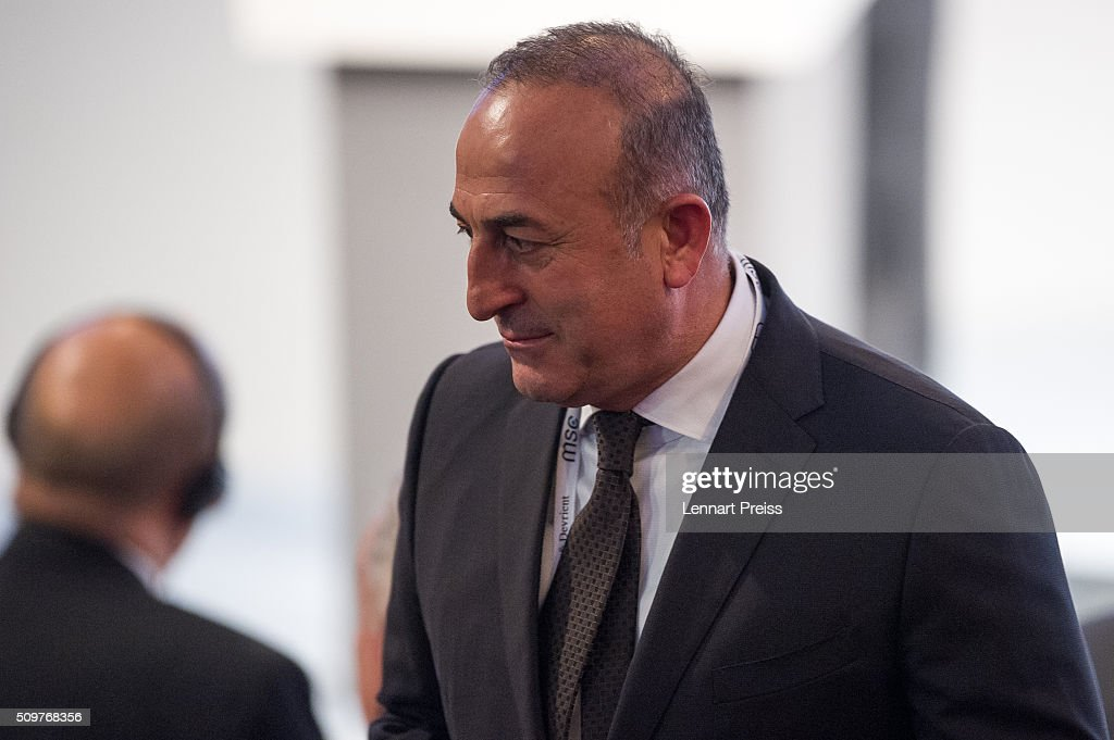 Turkish Minister of Foreign Affairs, Mevlut Cavusoglu arrives for the 2016 Munich Security Conference at the Bayerischer Hof hotel on February 12, 2016 in Munich, Germany. The annual event brings together government representatives and security experts from across the globe and this year the conflict in Syria will be the main issue under discussion.