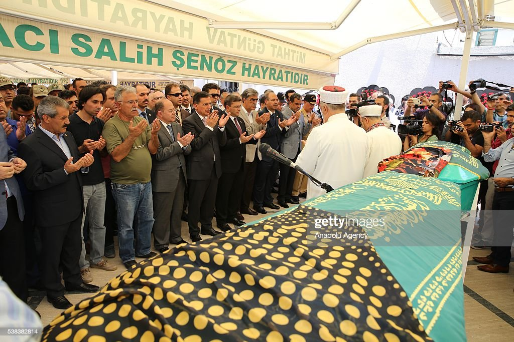 Turkish Minister of Health Recep Akdag attends funeral prayer of Hayriye Nur Seviner and Nehir Uludag after a bus carrying primary school students...