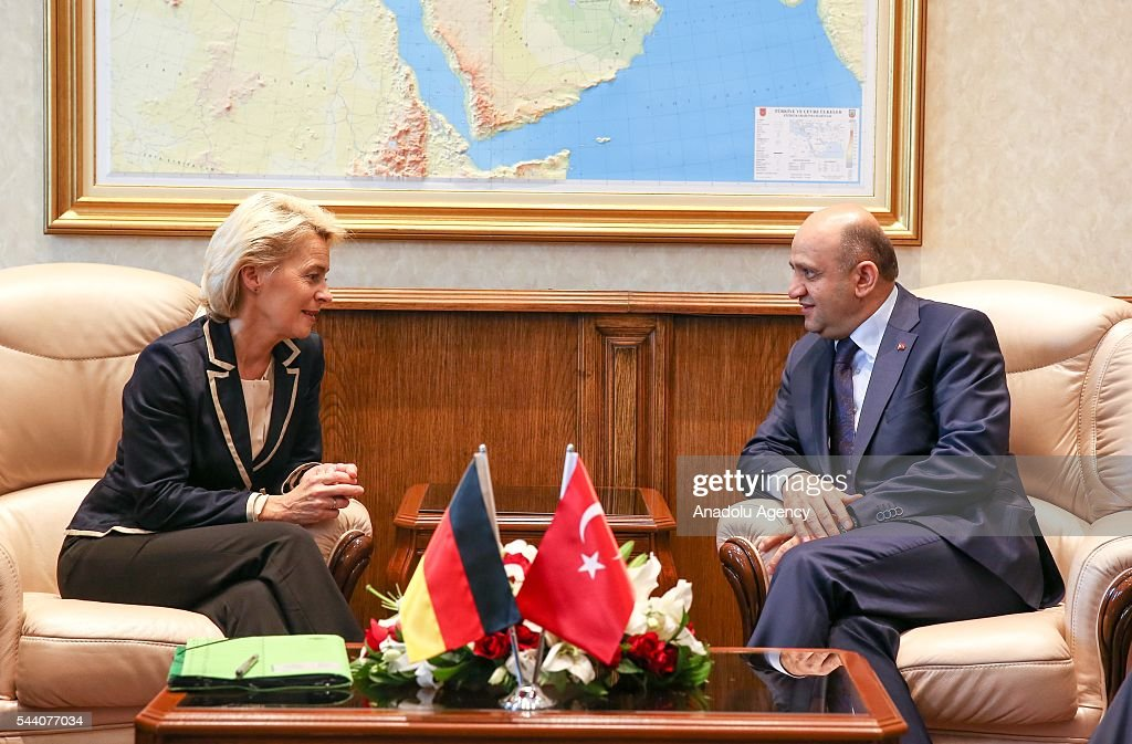 Turkish National Defense Minister Fikri Isik (R) meets German Defense Minister Ursula von der Leyen (L) at Turkish Defense Ministry in Ankara, Turkey on July 1, 2016.