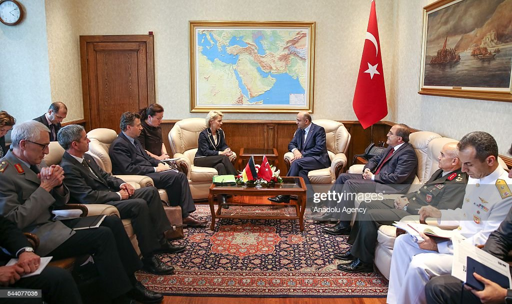 Turkish National Defense Minister Fikri Isik (C-R) meets German Defense Minister Ursula von der Leyen (C-L) at Turkish Defense Ministry in Ankara, Turkey on July 1, 2016.