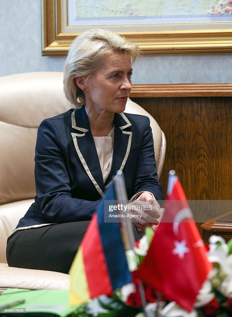 Turkish National Defense Minister Fikri Isik (not seen) meets German Defense Minister Ursula von der Leyen at Turkish Defense Ministry in Ankara, Turkey on July 1, 2016.